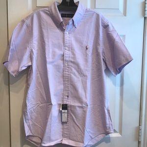 RALPH LAUREN Purple Oxford Cloth S/S Shirt Men's L